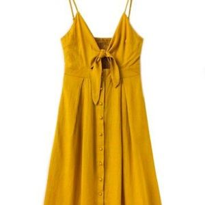 Goodnight Macaroon yellow midi dress tie front